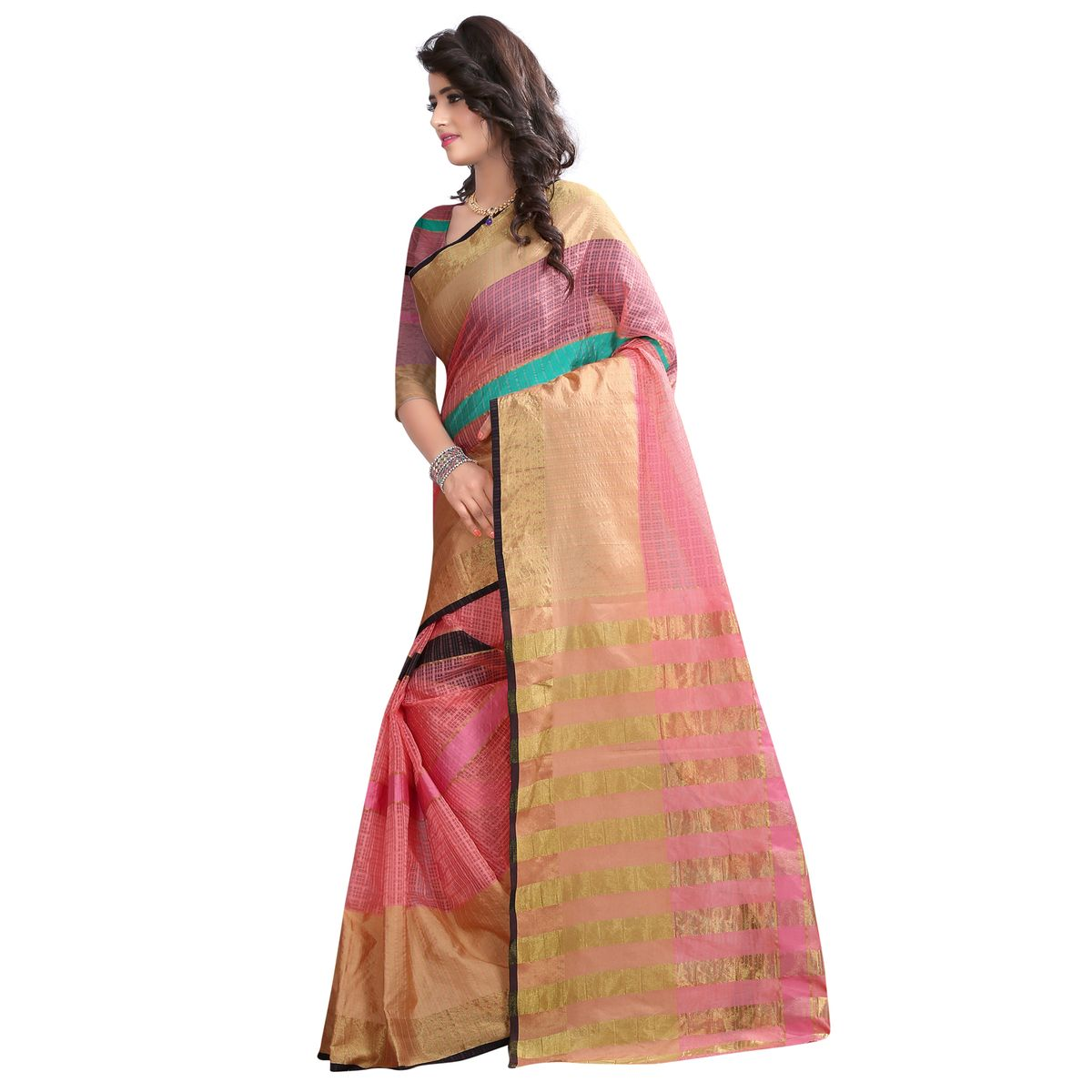 B4Best Creation Embellished Net Pink Color Saree for Women with Blouse Piece077