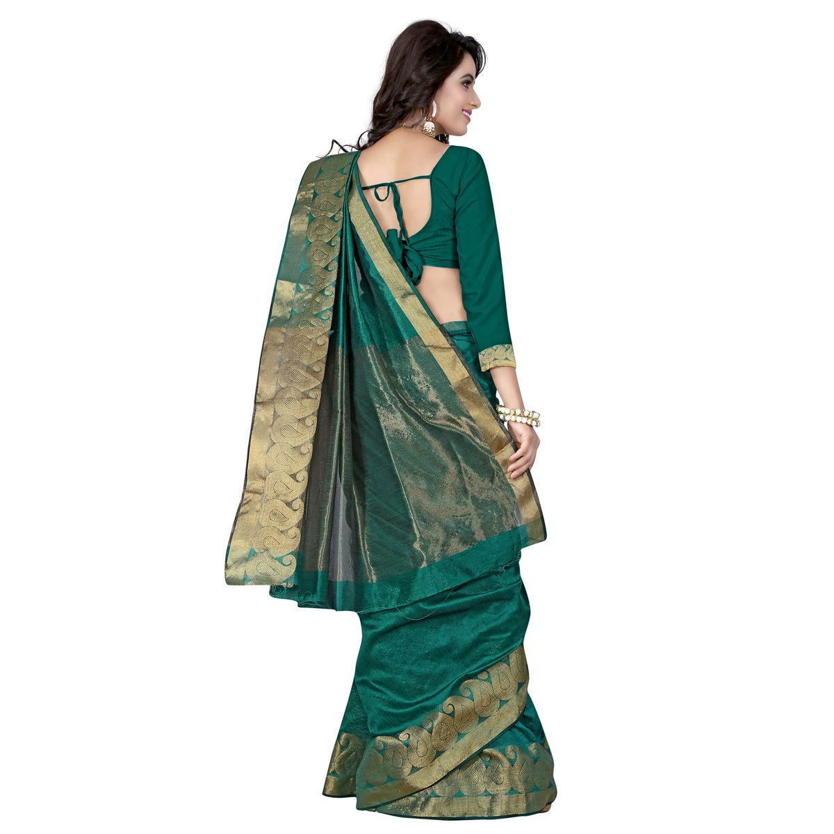 B4Best Creation Embellished Net Rama Color Saree for Women with Blouse Piece114