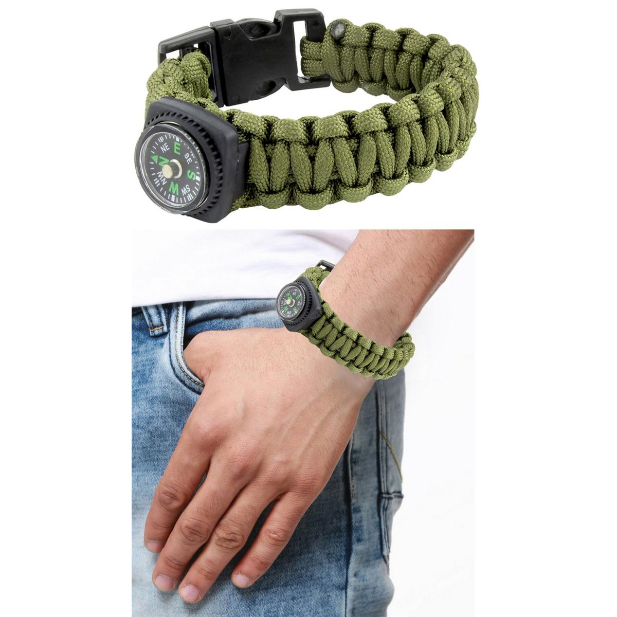The Jewelbox Black Compass Dark Green Outdoor Camping Adventure Compass Wrist Band Bracelet For Boys Men