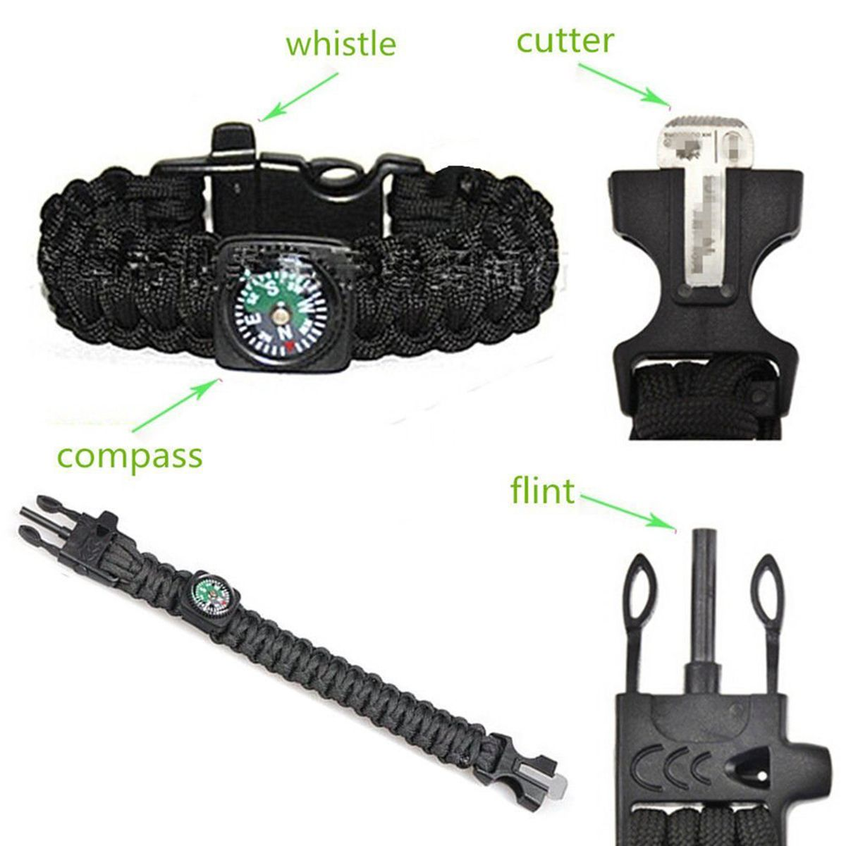 The Jewelbox Paracord Bracelet 5-in-1 Outdoor Flint Firesteel with Striker Blade-Scraper Compass and Whistle usable cord for Personal-Protection Survival Gear