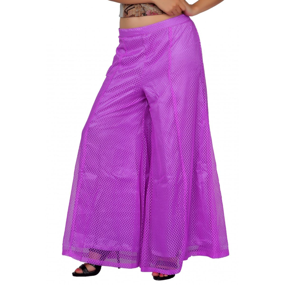 Carrel Imported Net Fabric Free Size Women Solid Flared Palazzo Pant