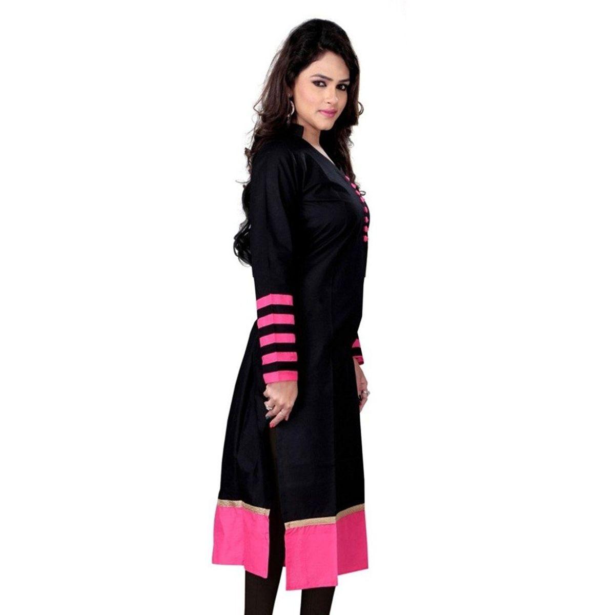 Omstar Fashion black Indo cotton semi-stitiched kurti