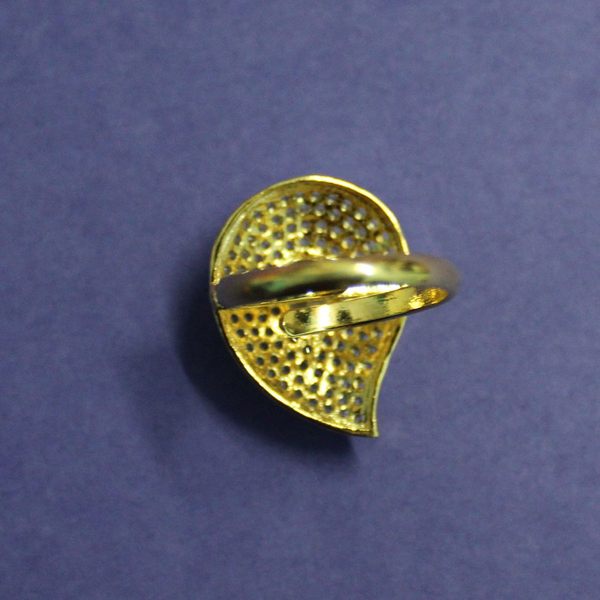 American Diamond Ring with Yellow Stone and Adjustable Ring Size