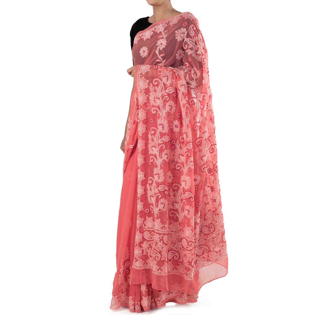 Pink Chikankari Saree