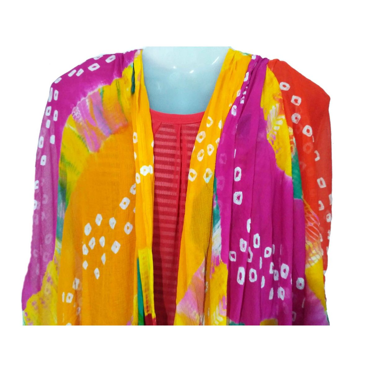 Buy Rajasthani Art Womens Chiffon Jodhpur Bandhej Dupatta Stole ...