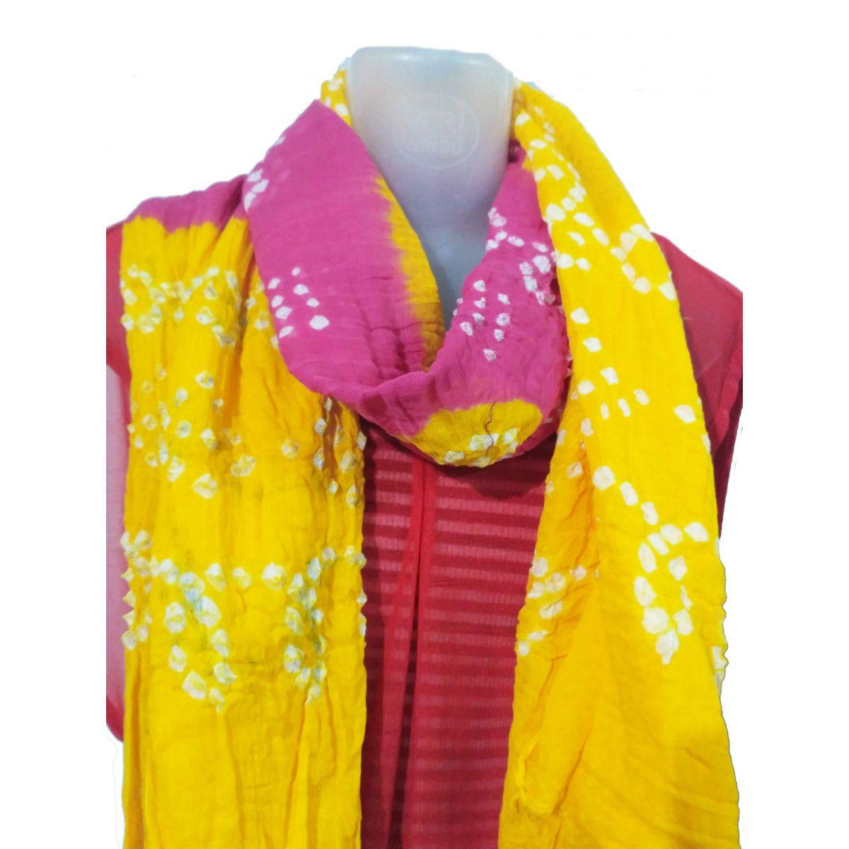 Buy Rajasthani Art Womens Cotton Malmal Jodhpur Bandhej Dupatta ...
