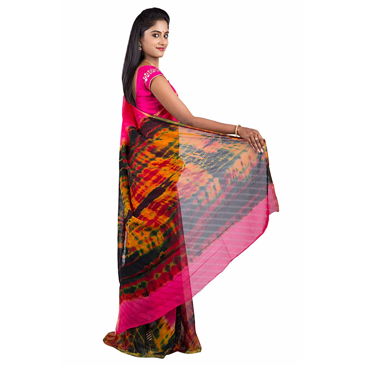 Abhi Silks Embellished Fashion Handloom Pure Georgette Saree  Pink