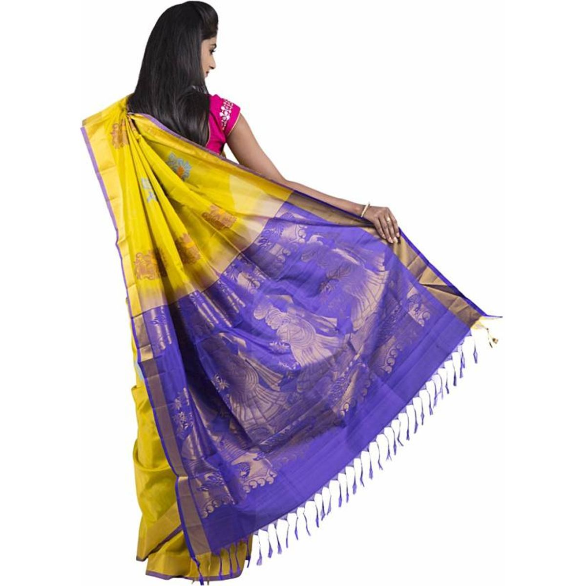 Abhi Silks Embellished Fashion Handloom Silk Saree
