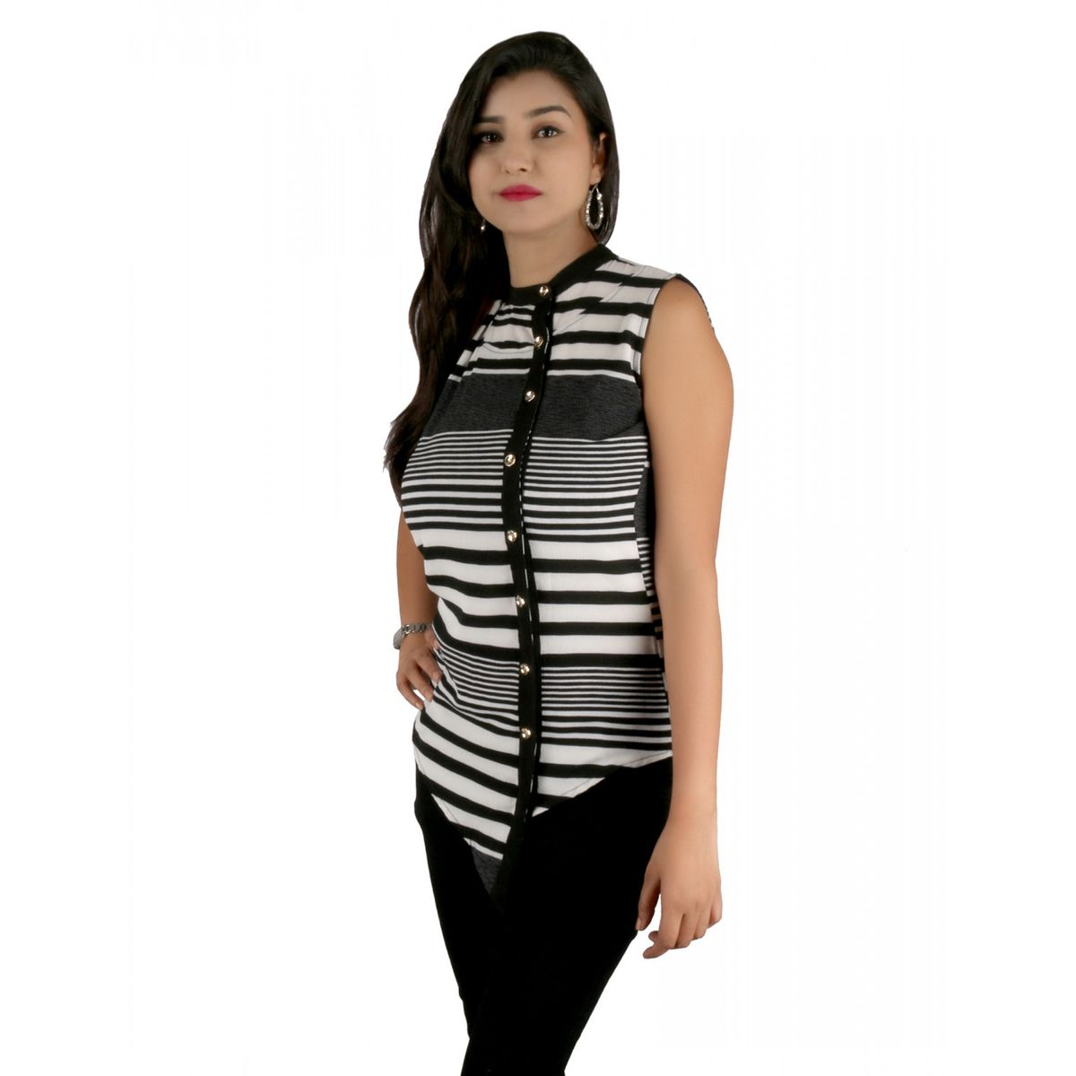 Asymmetric Stripe Sleeveless Top