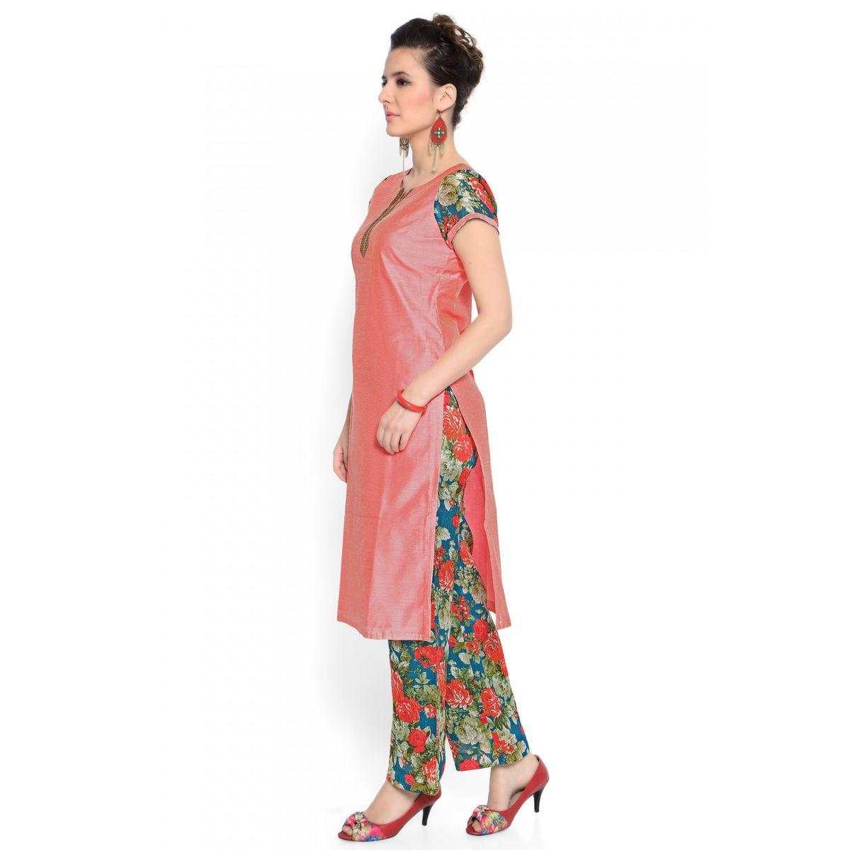 Admyrin Peach Cotton Silk Printed Kurta With Pant