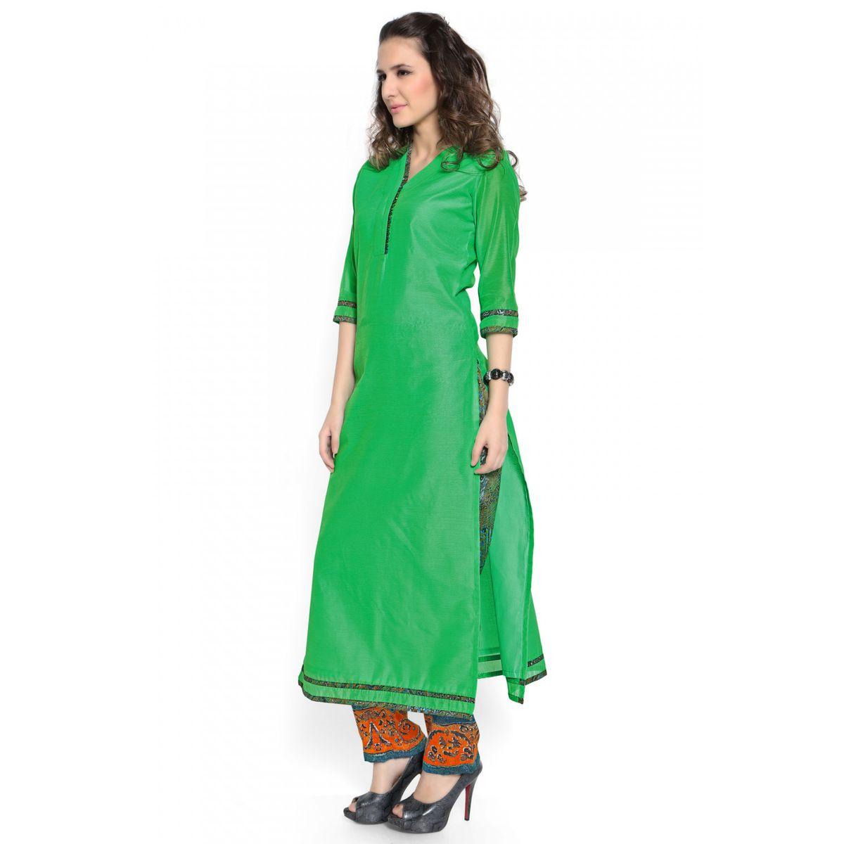 Admyrin Green Cotton Silk Digital Printed Kurta With Pant