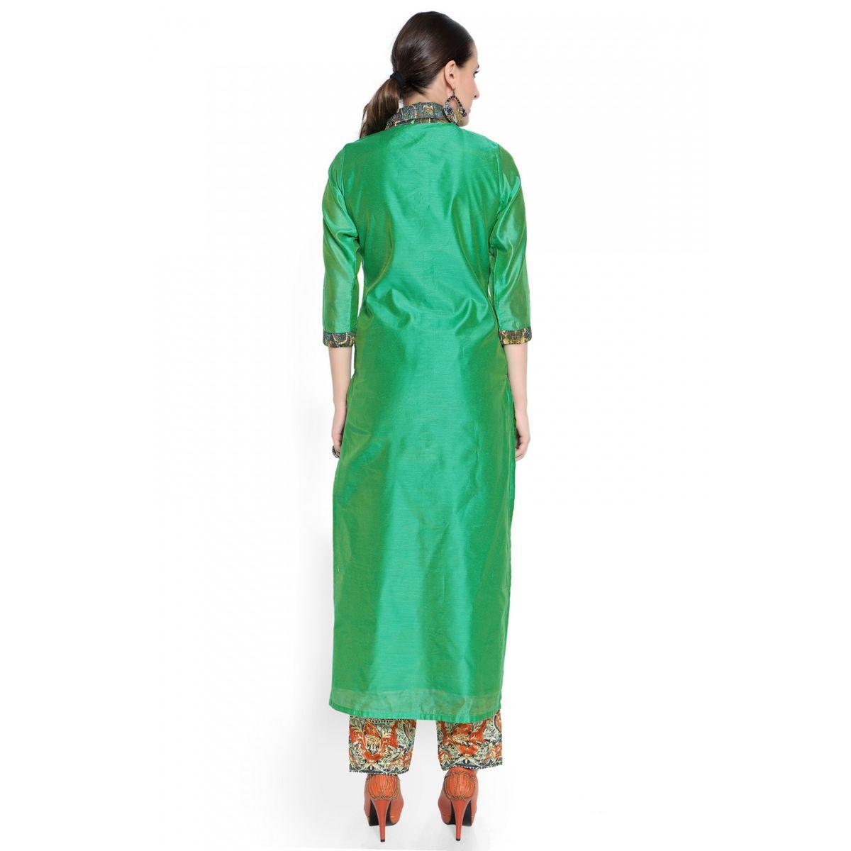 Admyrin Green Cotton Silk Digital Printed Kurta With Pant