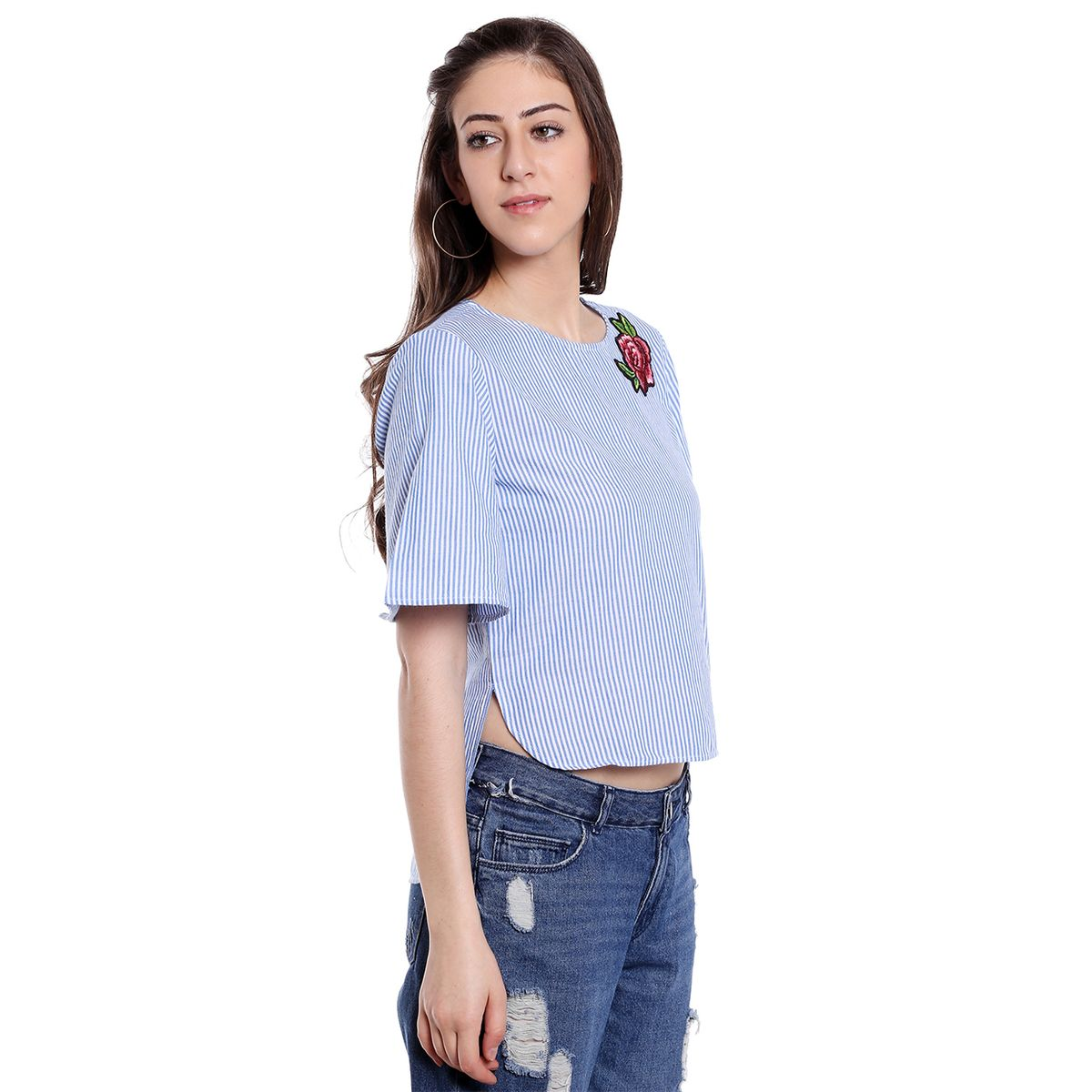 Blu Finch Womens Blue Striped Top with Flared Sleeves