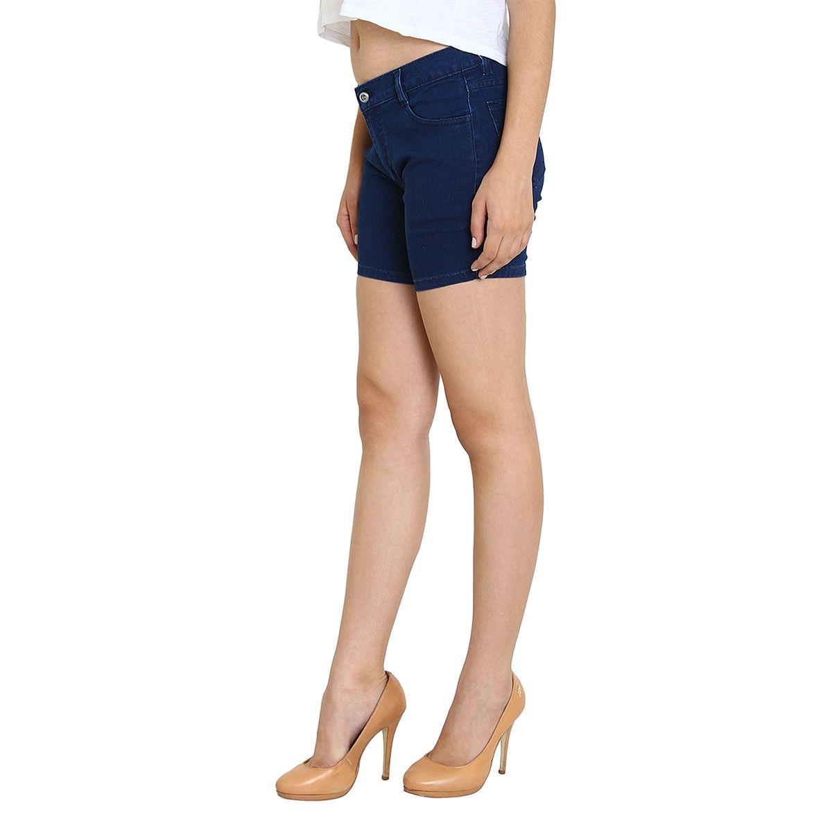 Fuego Fashion Wear Blue Shorts For Women-SHORT-1