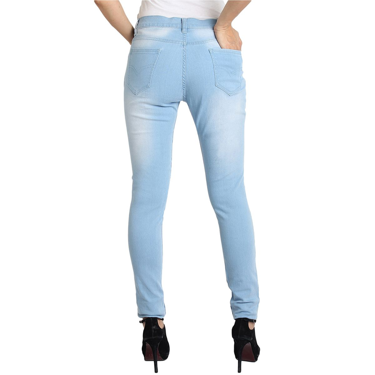 Fuego Fashion Wear Light Blue Jeans For Women With Assorted Boot Socks GRL-JNS-3HD3-BOOT-SOCKS-BLK