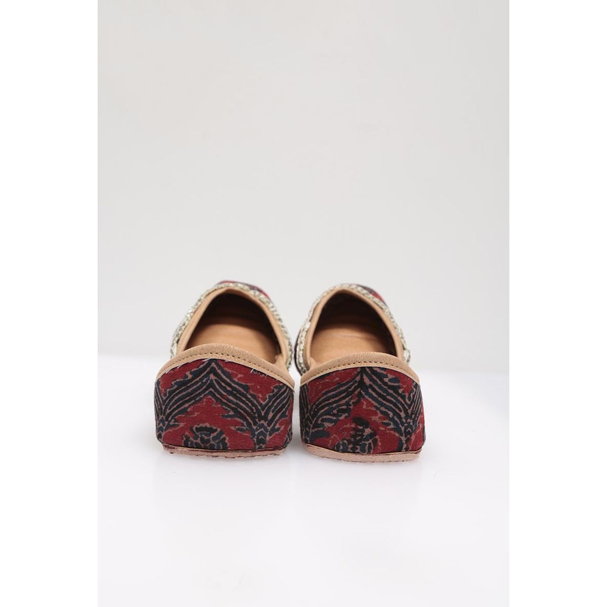 Maroon  blue Ajrakh Printed leather jutti
