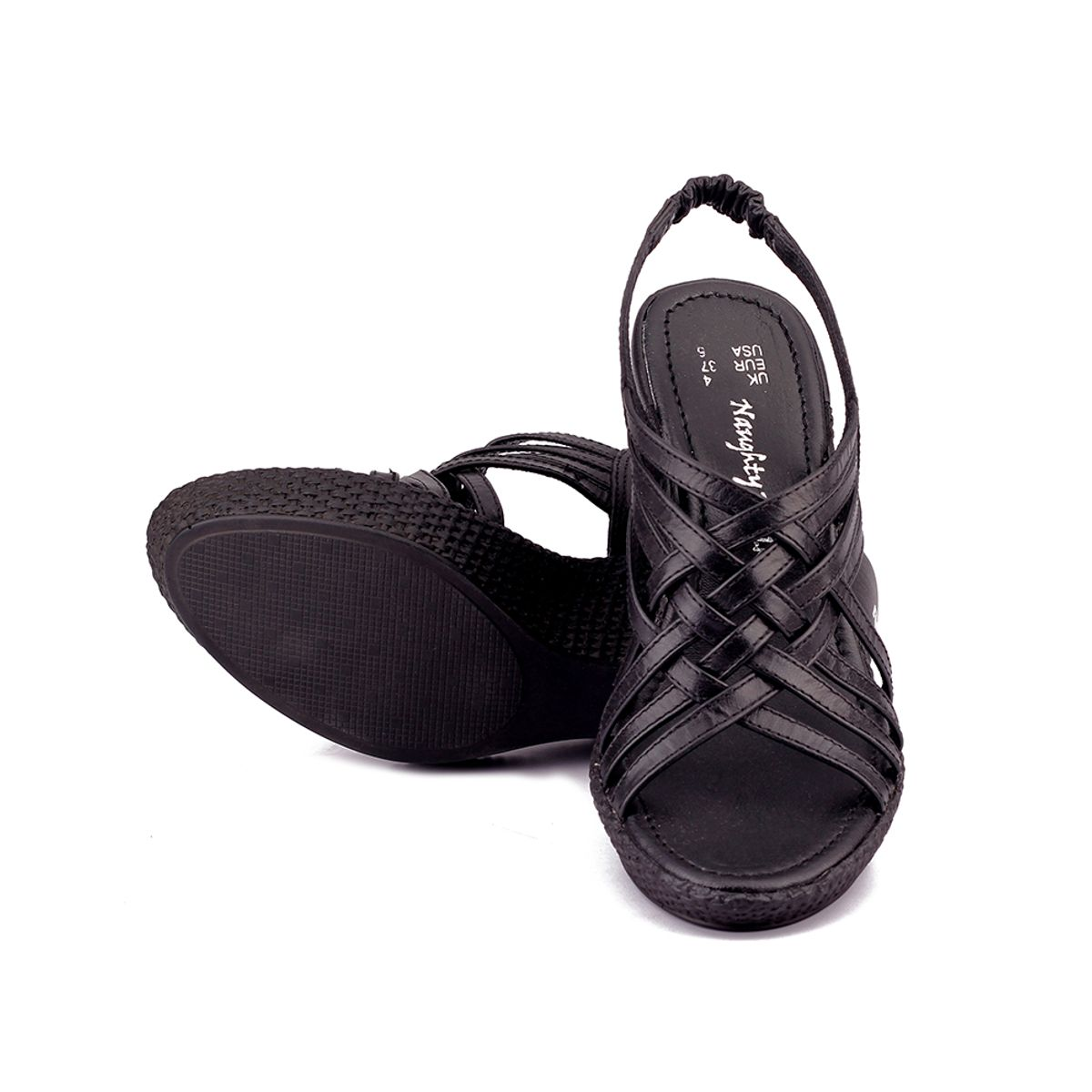 Naughty Walk-706 Black Wedges