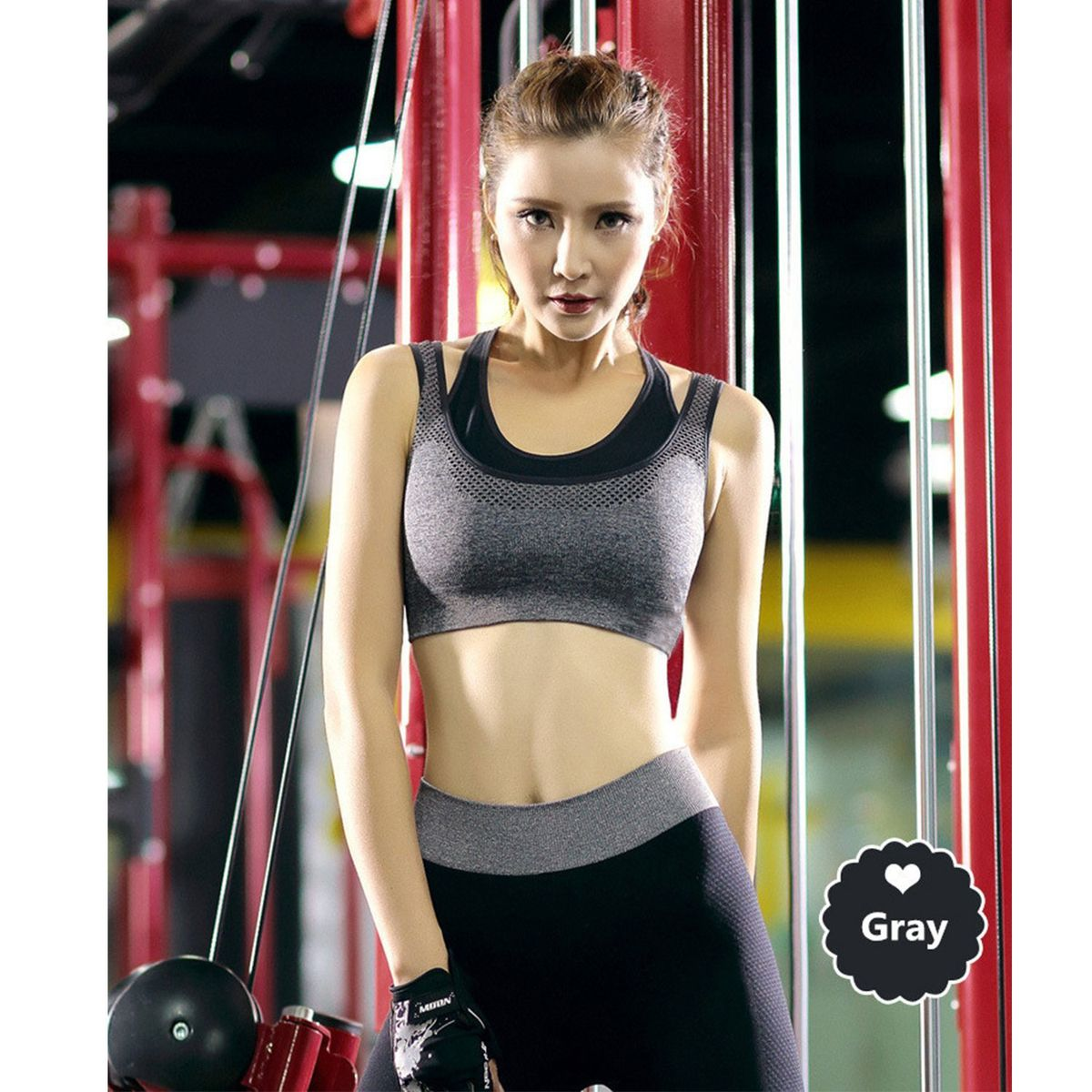 Womens Comfort Revolution Workout Fitness Sports Bras Fake Two Pieces Yoga Athletic Gym High Impact Underwire Padded Seamless Strap Racerback.-B078NG8PPG