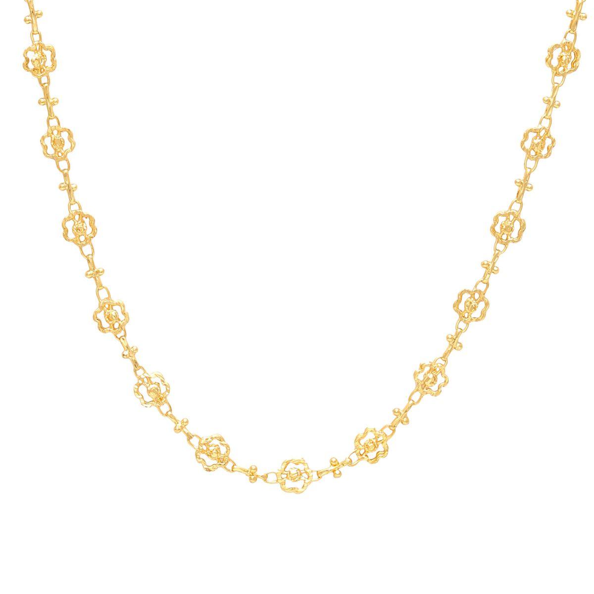 Memoir Brass Gold flower shape handmade chain necklace Women