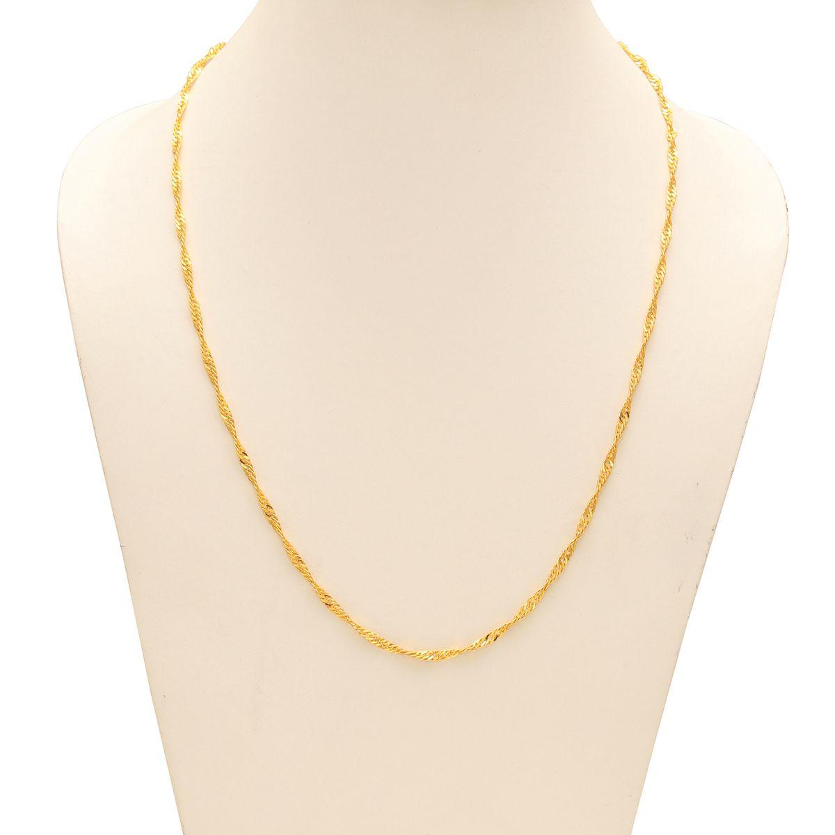 Buy Memoir Gold Brass thin flat chain design simple stylish sober ...