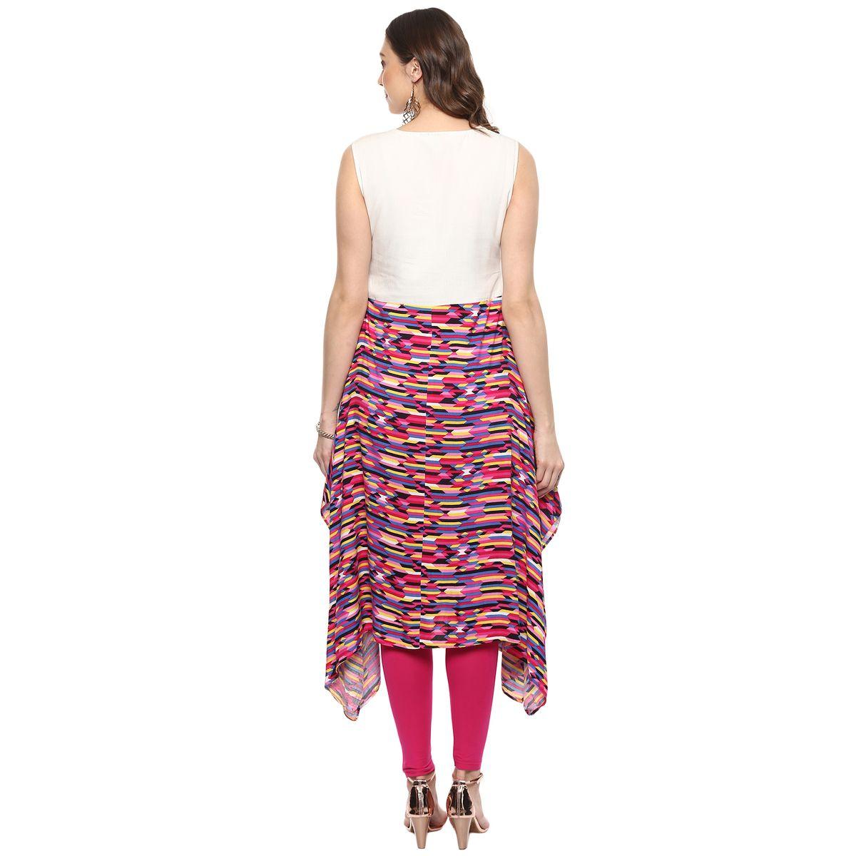 Vedic Womens A-line Printed Sleeveless Kurti 25