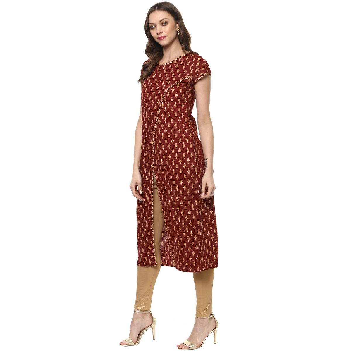 Vedic Womens Half Sleeved Twill Kurti 19
