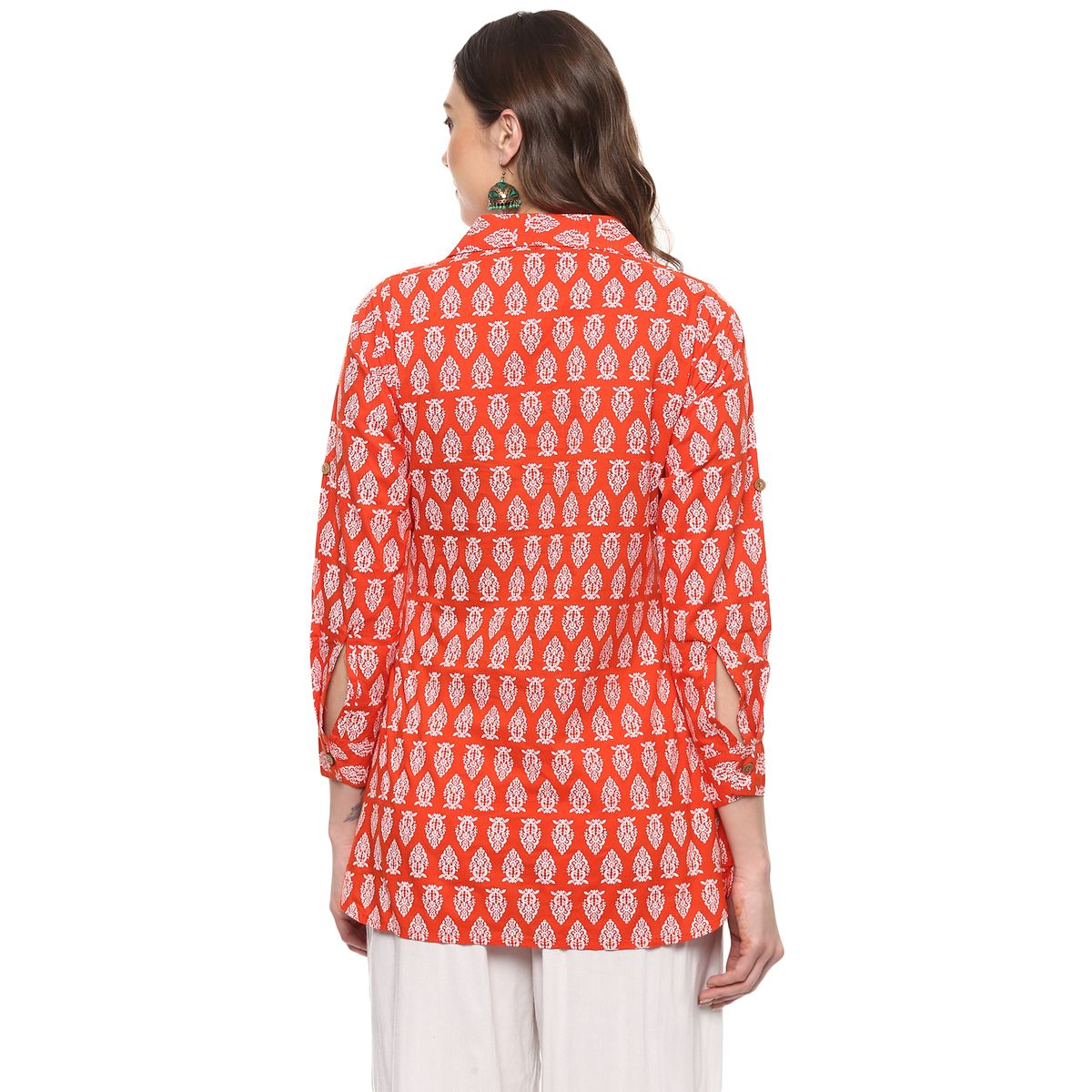 Vedic Womens Orange Shirt Style Kurti