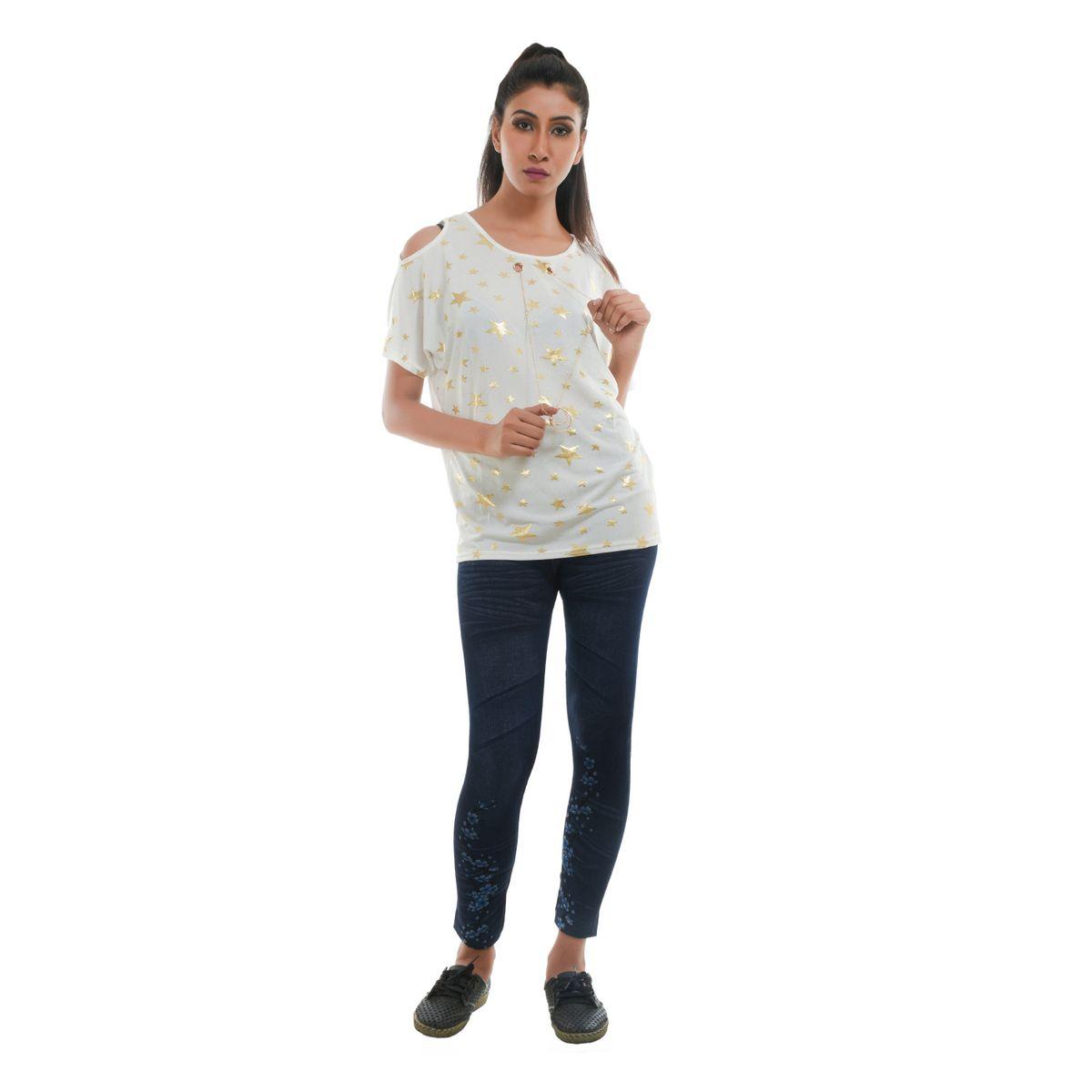 Ziva Fashion Womens White Star Print Cold Shoulder Top T57-S