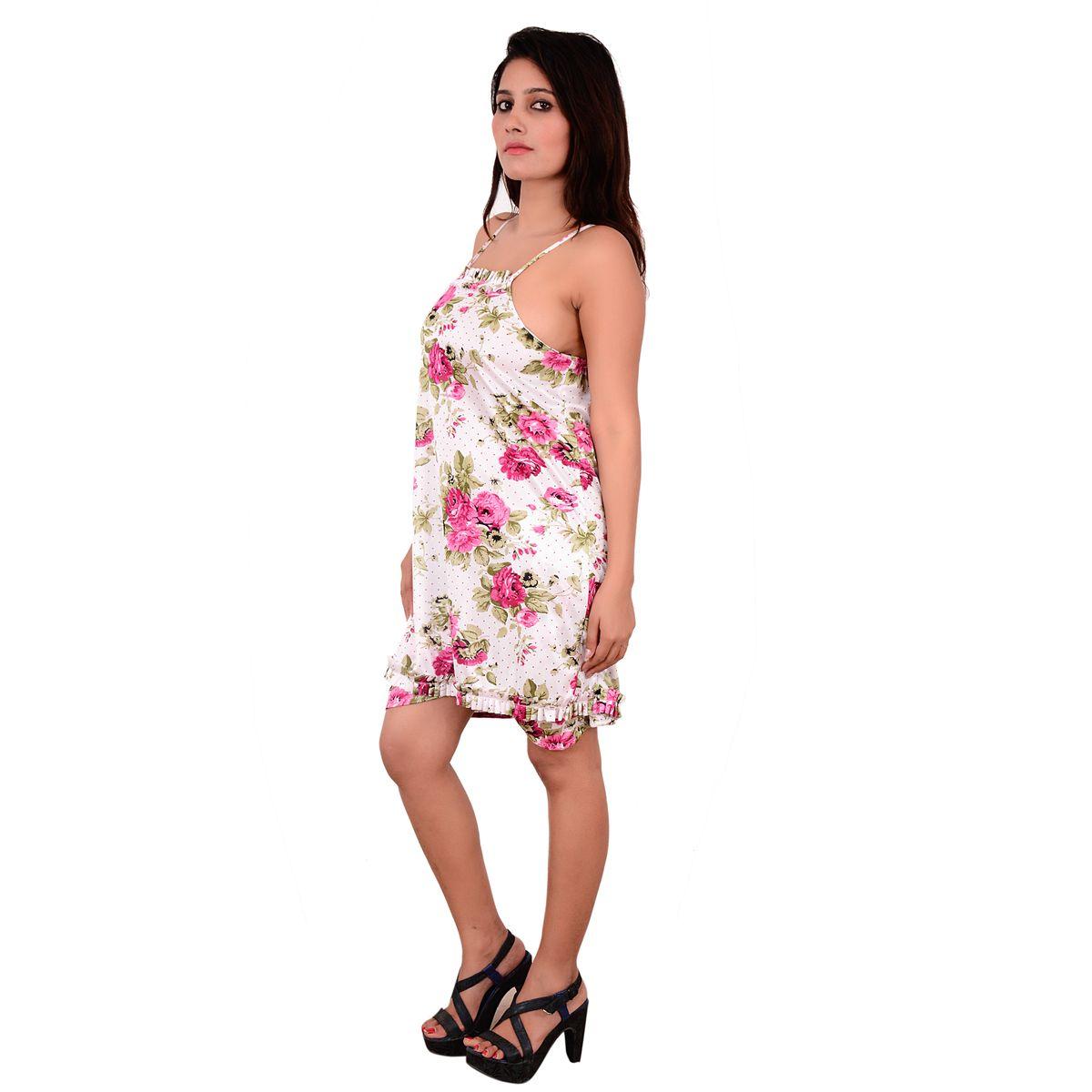 Nooraalia Women satin top  nikar white  dark pink flowers print