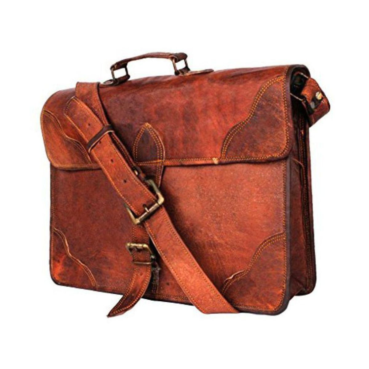 iHandikart Brown Leather Office Messenger Bag