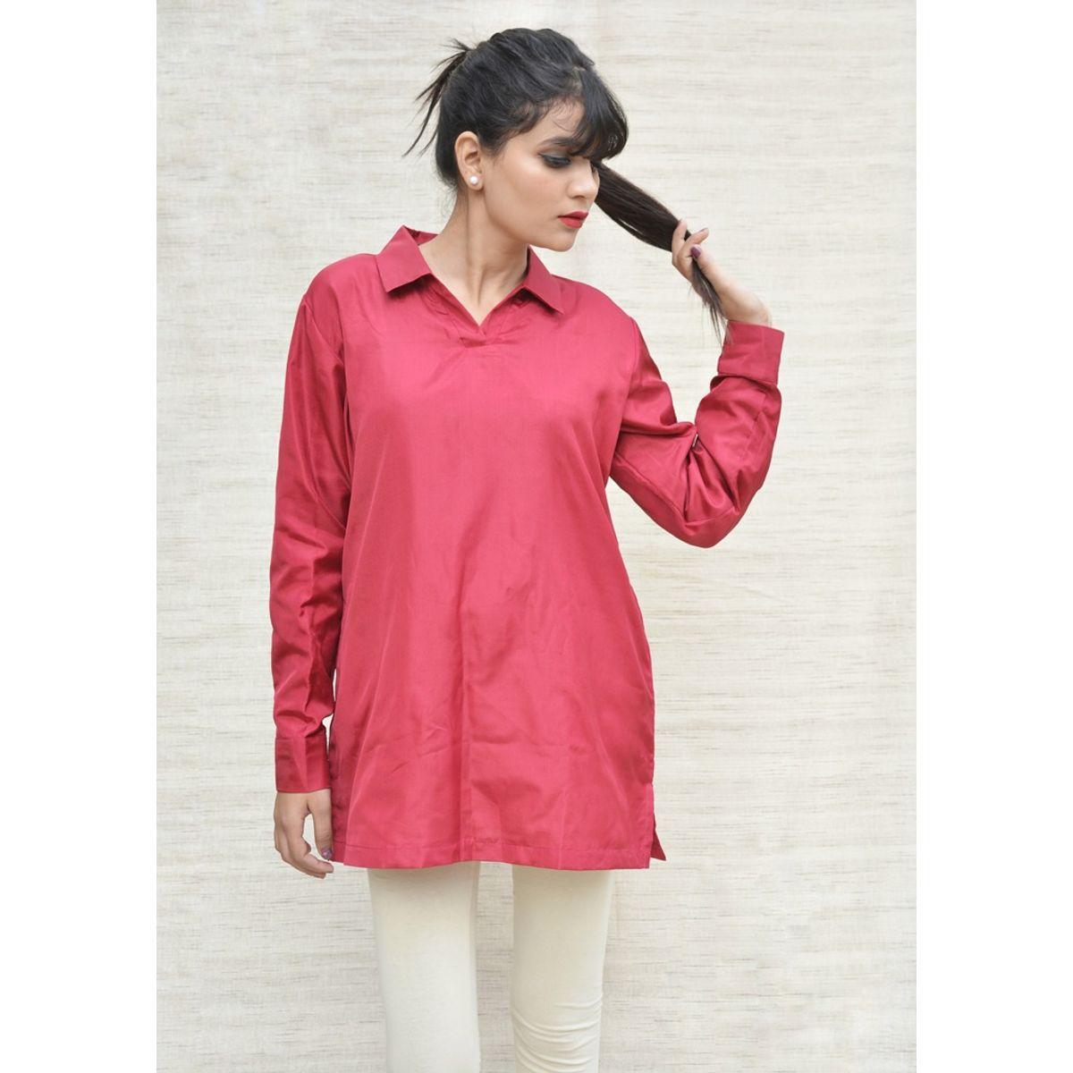 Maroon Khadi Silk Shirt Collar Top
