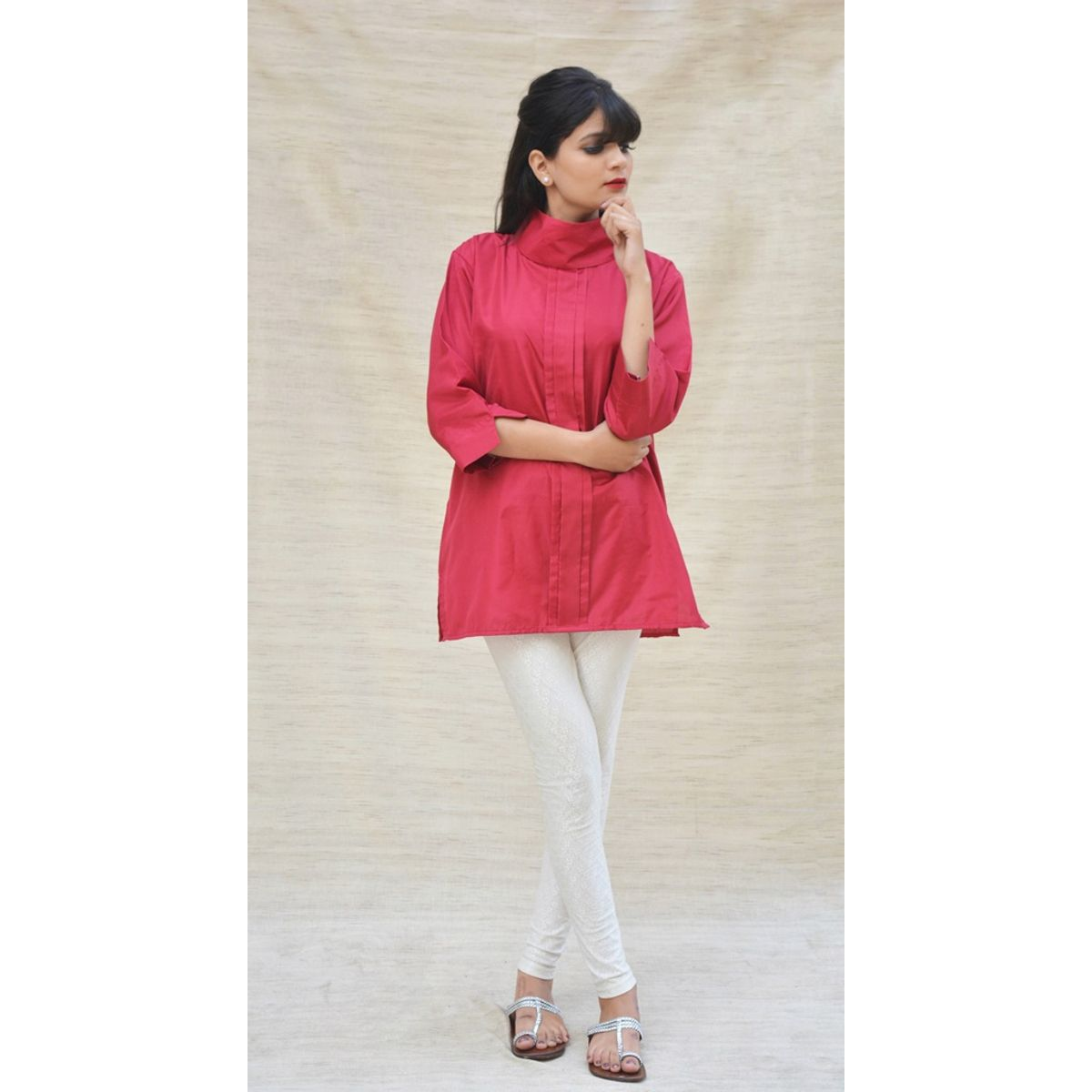Khadi Silk Turtle Neck Maroon Top