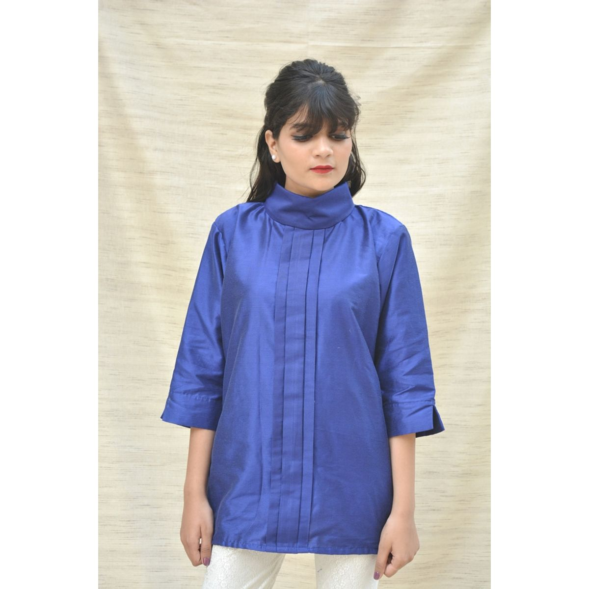 Khadi Silk Turtle Neck Blue Top