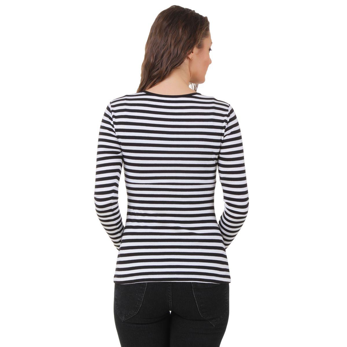 Texco Black and White Stripe Top