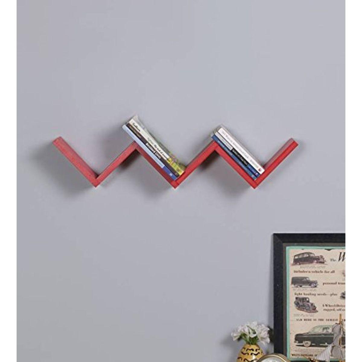 Decorasia Wooden W Shape Wall Mount Book Shelf Size - 23 X 6 X 5 Inch