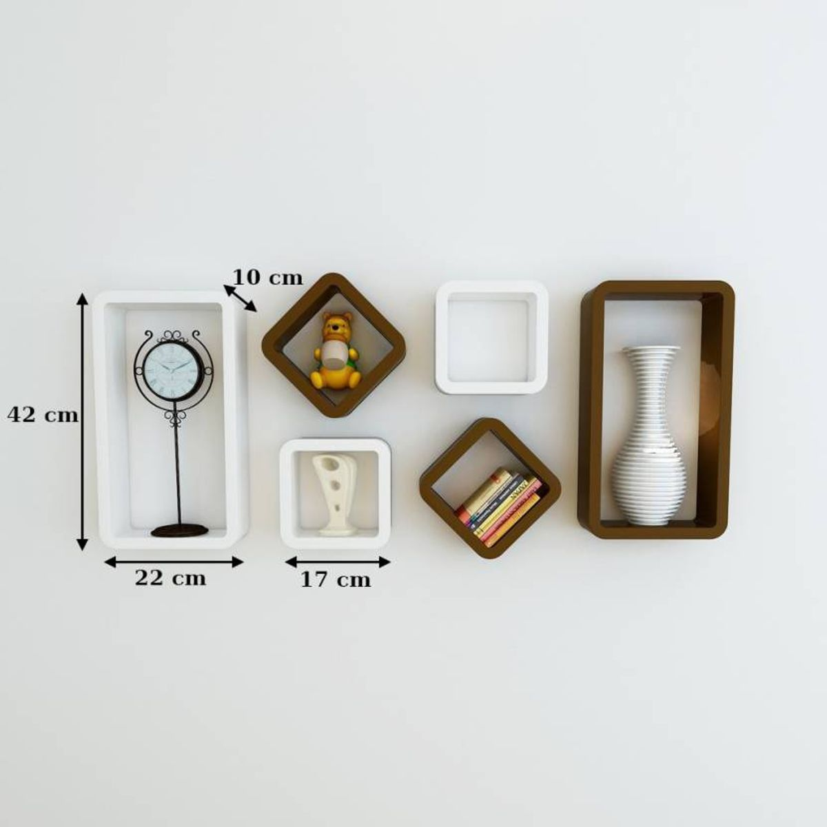 Decorasia Wooden White  Brown Cube Wall Shelf Set Of 6 - Size 42 X 22 X 10 Cm