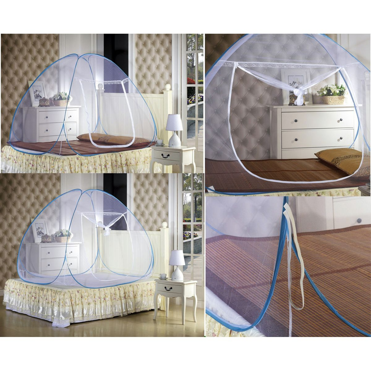 Kawachi Double Bed Size Folding Mosquito Net-White