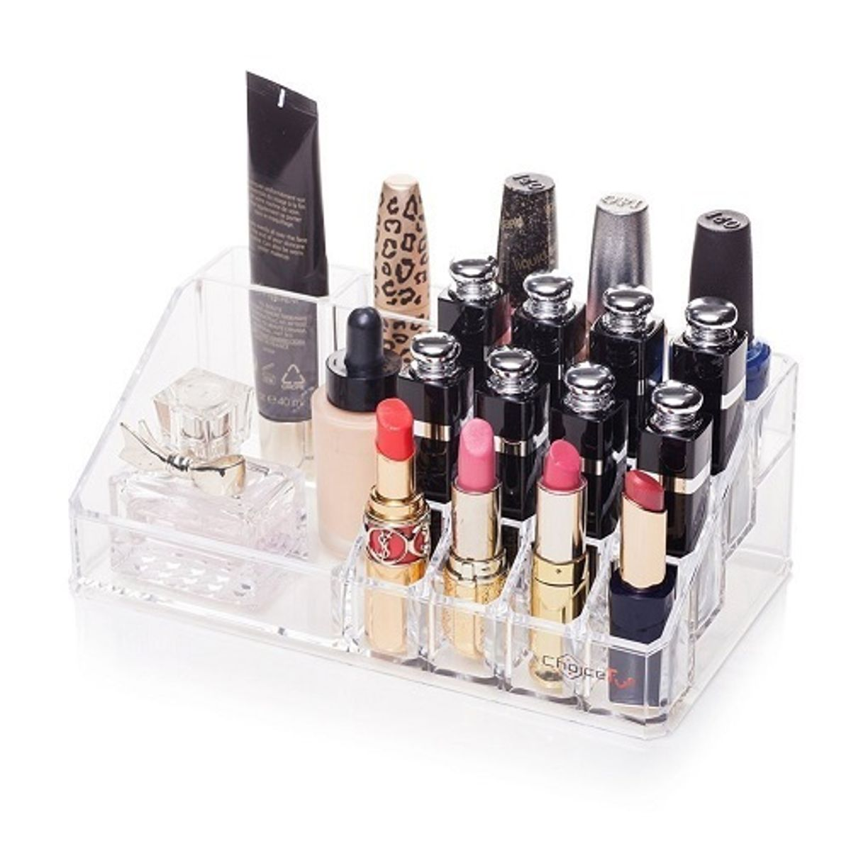 ShopAIS 16 Slot Acrylic Makeup Organizer with Removable Mirror Cosmetic Organizers 16 Slot with Mirror
