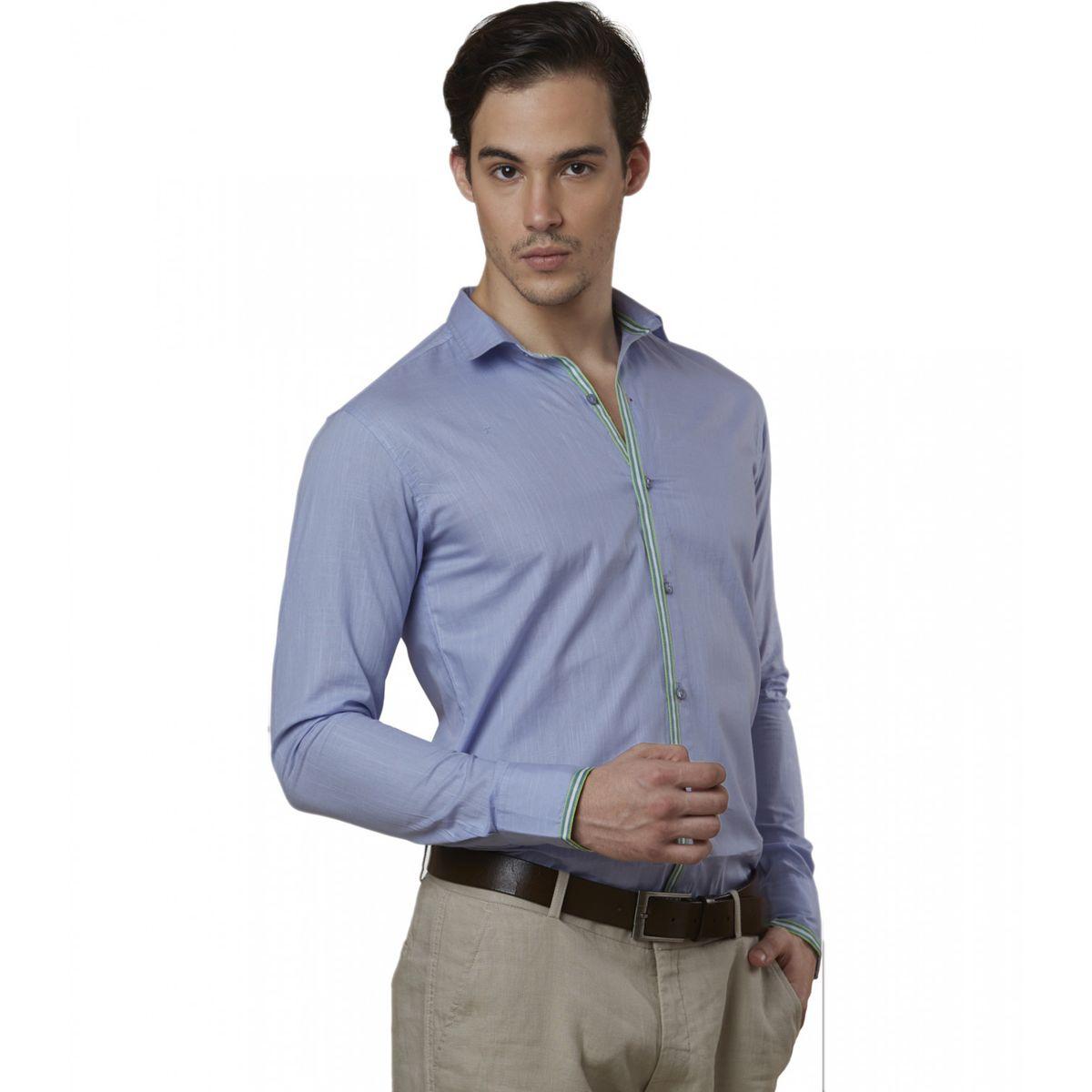 Lisova Sky Blue Mens Slub Cotton Plain Casual Slim Fit Shirt