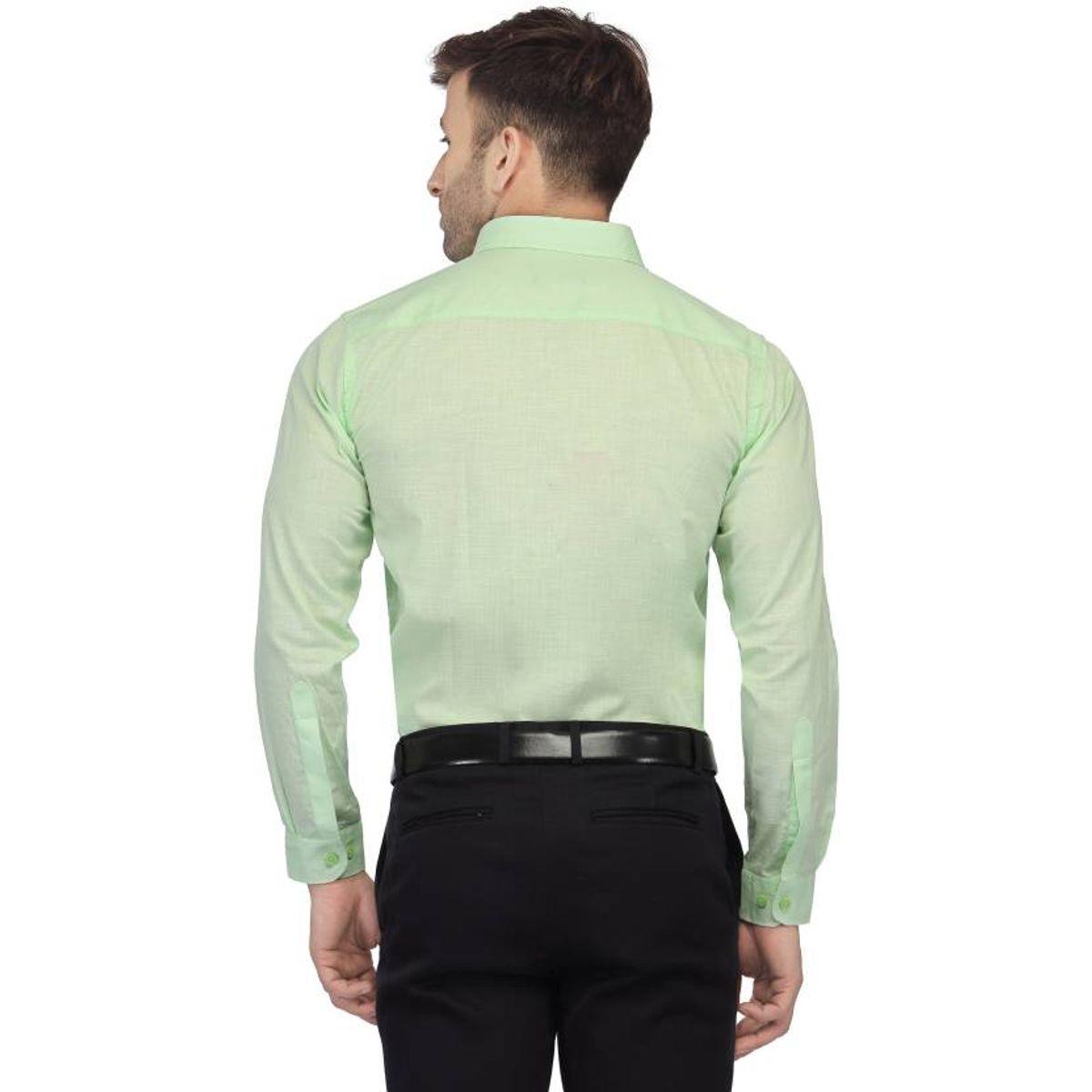 New Fancy Light Green Cotton Men Formal Shirt