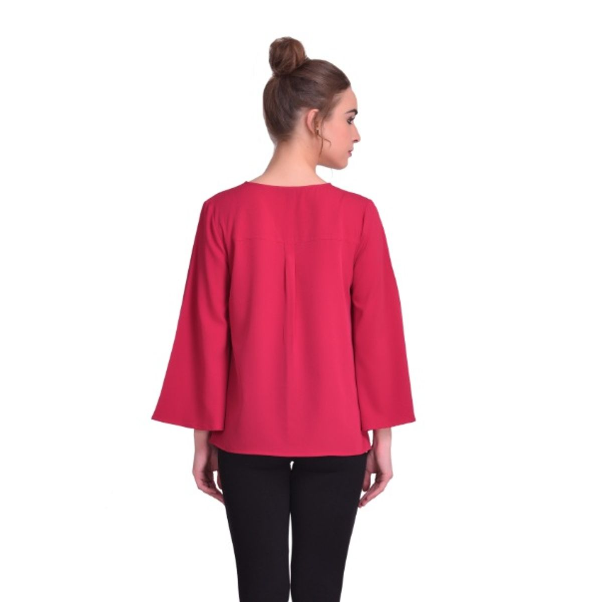 STSF0806-Saieraa Marsala Color poncho Flare Top with show buttons