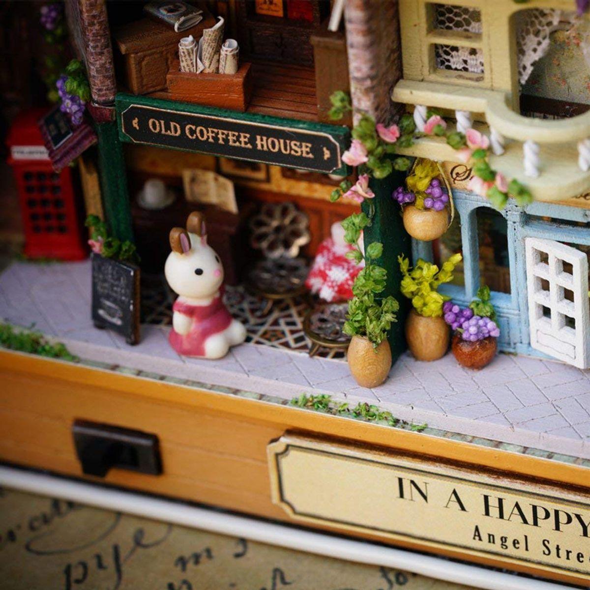 Mopixie 3D Wooden Dollhouse Miniature DIY House Kit with Furniture124 DIY Box Theater Kit Happy Corner