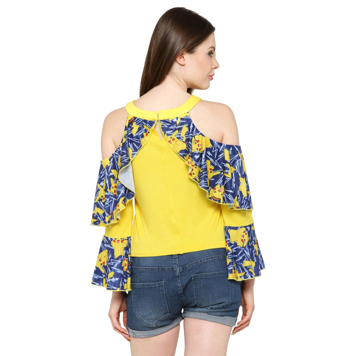 Inspire World Womens Pure Cotton Lycra Top in Bright Yellow Color with Pokemon Poly Lycra Overlay imported fabric
