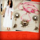 Jhumka Pandent Thread Long Necklace With Mirror Earrings