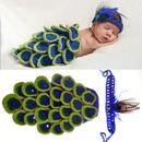 Handmade New Baby Infant Peacock Crochet Costume 0 size gift cloth
