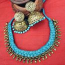 Silk Treaded Dora Set In Golden And Blue With Goddess Jhumkis