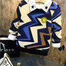 designer sweater with multicolor zigzag pattern
