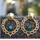Ethnic gold plated earrings with semi precious stone gee00382