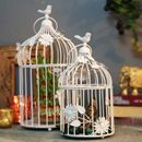 White Bird Cage with Floral Vine (Set of 2)