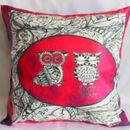 Owls Raw Silk Cushion Cover
